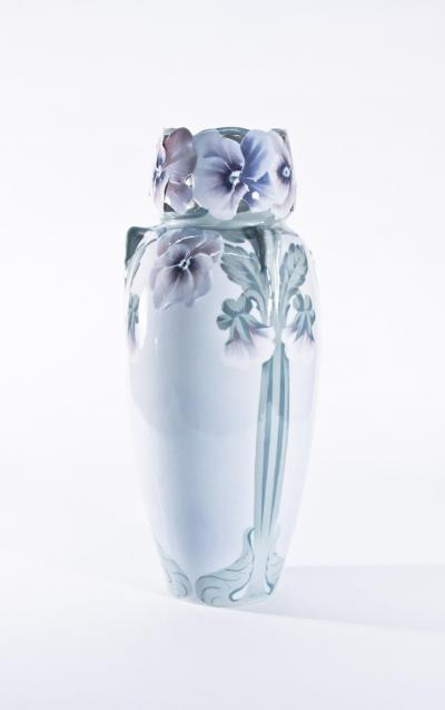 R rstrand Monumental Porcelain Vase with Pansies
