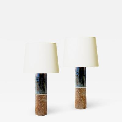 R rstrand Pair of Dramatic Brutalist Table Lamps by Carl Harry Salhane