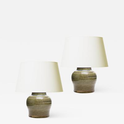 R rstrand Pair of Petite Tea Jar Form Lamps by C H Stalhane