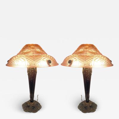 Ranc Freres Beautiful Pair of French Art Deco Table Lamps Signed Ranc Freres circa 1930