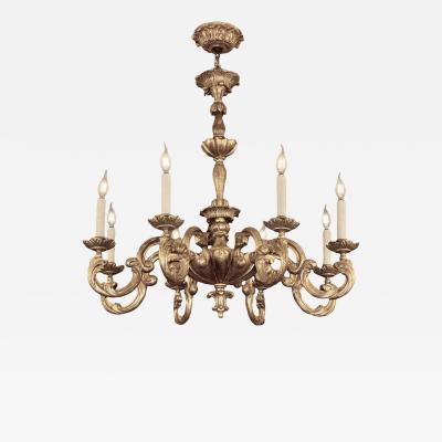 Randy Esada Designs 18c Style Carved Italian White Gold Gilt Wood 8 Light Chandelier by Randy Esada