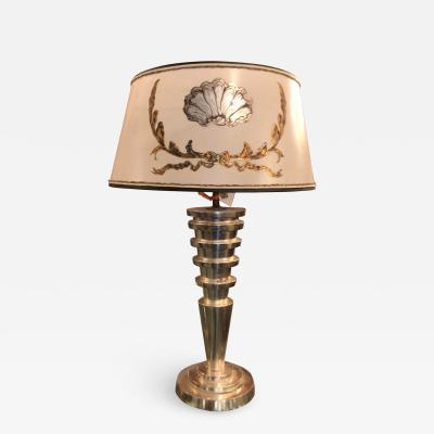 Randy Esada Designs Panache Art Deco Silver Leaf Manhattan Table Lamp W Custom Designer Shade