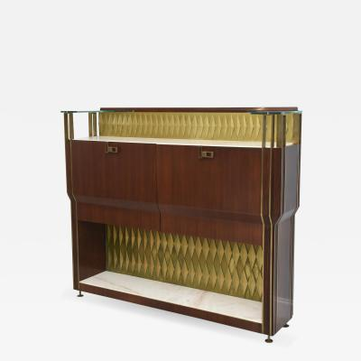 Raphael Furniture Rare French Modern Mahogany Bronze and Brass Bar Cabinet Raphael