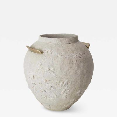 Raquel Vidal Pedro Paz Isolated Brass and Glaze Stoneware Vase Raquel Vidal and Pedro Paz