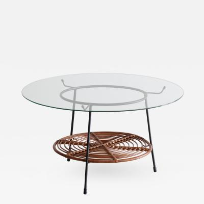 Raymor Italian Wicker and Iron Table with Glass Top by Raymor