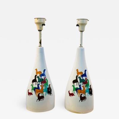 Raymor PAIR OF MID CENTURY CERAMIC LAMPS WITH COLORFUL HORSES BY RAYMOR