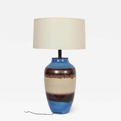 Raymor Substantial Raymor Bright Blue Banded Glazed Ceramic Oil Jar Table Lamp
