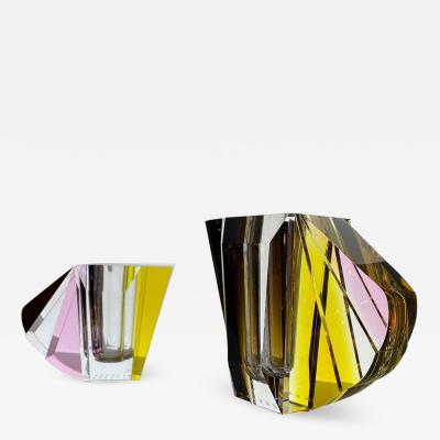 Reflections Copenhagen Pair of NYC Contemprary Vases Hand Sculpted Contemporary Crystal