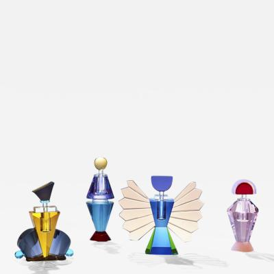 Reflections Copenhagen Set of 4 Colorful Crystal Perfume Flacons Hand Sculpted Contemporary Crystal