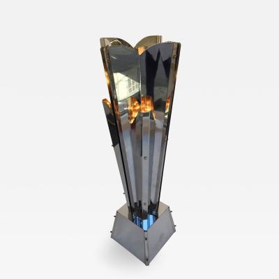 Reggiani Floor Lamp Sculpture Metal Chrome by Reggiani Italy 1970s