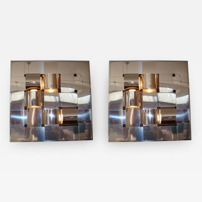 Reggiani Italian Stainless Steel Light Sconces Editioned by Reggiani Designed by Salvi