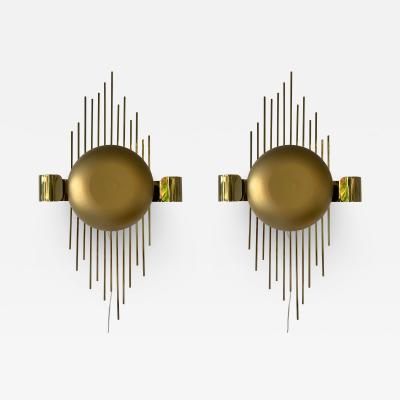 Reggiani Pair of Brass Sun Sconces Italy 1970s