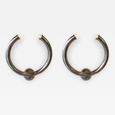 Reggiani Pair of Metal Ring Sconces by Reggiani Italy 1970s