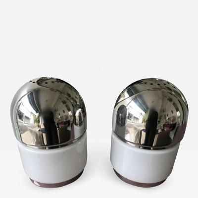 Reggiani Pair of Salt and Pepper Lamps Chrome Opaline Glass by Reggiani Italy 1970
