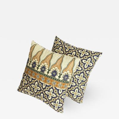 Reha Okay Set of 2 pillows with decorated fabric and gold application