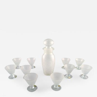 Reijmyre Glasbruk 12 persons cocktail set in art glass