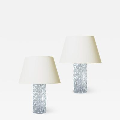 Reijmyre Glasbruk Pair of Mod Table Lamps with Hand Worked Triangle Pattern by Reijmyre