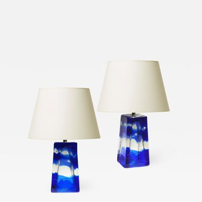 Reijmyre Glasbruk Pair of Sargasso Table Lamps in Hand Formed Galls by Reijmyre