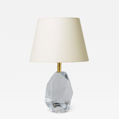 Reijmyre Glasbruk Table lamp with crystalline form in glass by Reijmyre