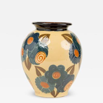 Ren Nicole French Art Deco ceramic flower vase by Ren Nicole