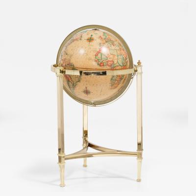 Replogle A 1970s Brass Framed Heirloom Globe by Replogle