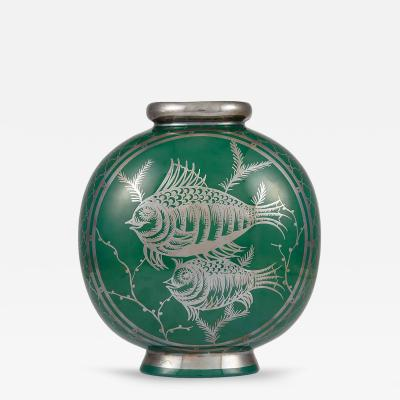 Richard Ginori A Rare Richard Ginori Silver Overlay Vase Attrib
