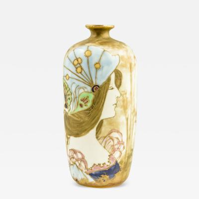 Riessner Stellmacher Riessner Stellmacher Amphora Portrait Vase Austria ca 1894 Art Nouveau