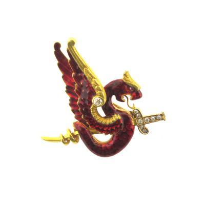 Riker Bros Riker Bros Enamel Diamond and Gold Dragon Pin