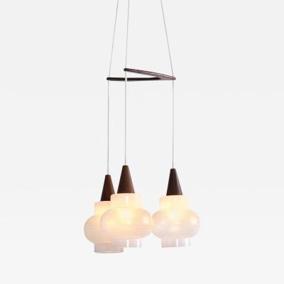 Rispal Rispal Three Glass Shade Pendant Lamp France 1950s