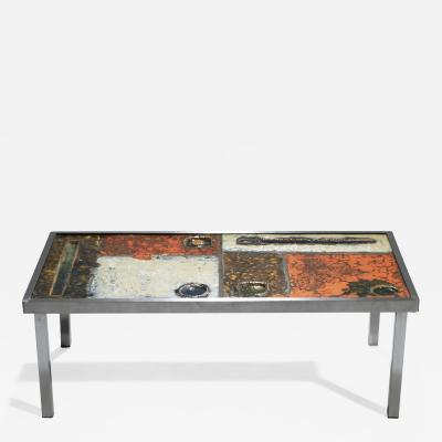 Robert Jean Cloutier French Robert and Jean Cloutier ceramic coffee table 1950s