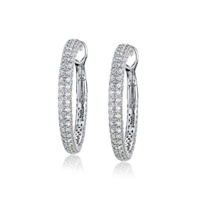 Roberto Coin ROBERTO COIN 18K WHITE GOLD 15 CARAT DIAMOND HOOP EARRINGS