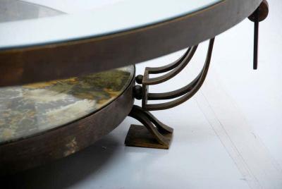 Roberto Mito Block Captivating Round Cocktail Table Bronze Art Glass by Roberto Mito Block 1940s