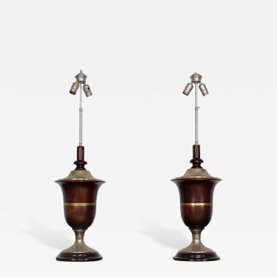 Roberto Mito Block Pair of Neoclassical Table Lamps In Mahogany Nickel Plated Mexican Modernist