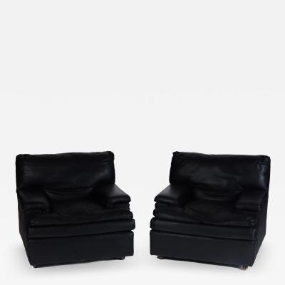 Roche Bobois A pair of French vintage Roche Bobois black leather club chairs circa 1970s