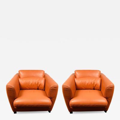 Roche Bobois Art Deco Leather Lounge Chair by Roche Bobois a Pair