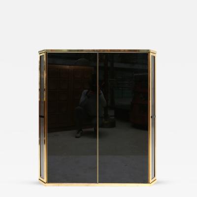 Roche Bobois Black Glass Brass Cabinet
