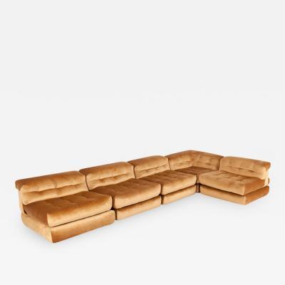 Roche Bobois Mah Jong First Edition Modular Sofa in Gold Velvet by Roche Bobois