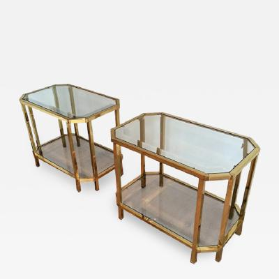 Roche Bobois PAIR OF ROCHE BOBOIS BRASS 2 TIERED END TABLES