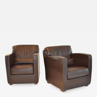 Roche Bobois Pair of Leather Arm or Club Chairs by Roche Bobois