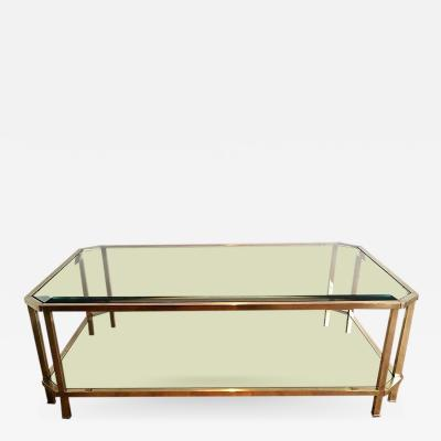 Roche Bobois ROCHE BOBOIS 2 TIERED BRASS COFFEE TABLE WITH OCTAGONAL CORNERS