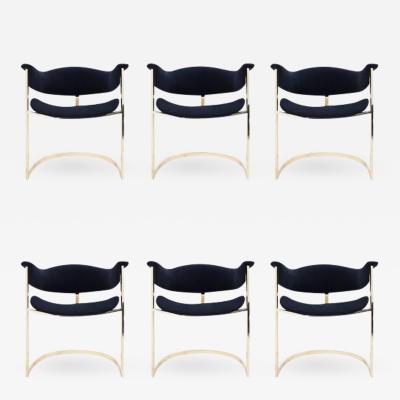 Roche Bobois Set of Six Brass Dining Chairs Roche Bobois
