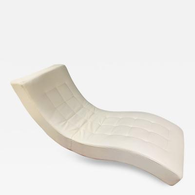 Roche Bobois Tufted Ivory Leather Lounge Chair in the manner of Roche Bobois