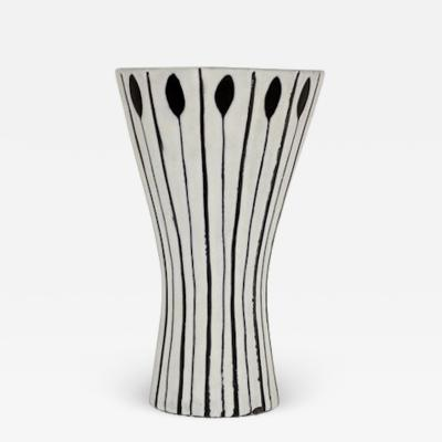 Roger Capron ROGER CAPRON BLACK AND WHITE CERAMIC VASE WITH LANCE OR ARROW MOTIF C 1957