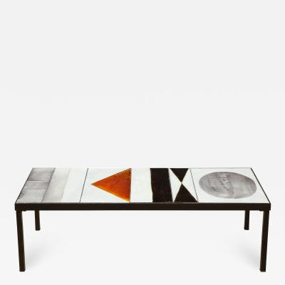 Roger Capron Rectangular low table with ceramic tile top by Roger Capron