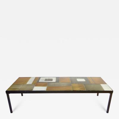 Roger Capron Roger Capron Multi Color Ceramic Coffee Table in Amber Ochre Gray and White