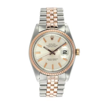 Rolex DateJust 18K Pink Gold and Steel Watch Ref 1601