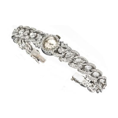 Rolex Rare 1950s Rolex Diamond Set 18kt White Gold Bracelet Watch