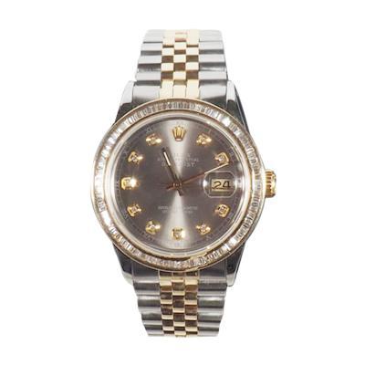 Rolex Rolex Yellow Gold DateJust Oyster Perpetual Wristwatch with Custom Diamond Bezel