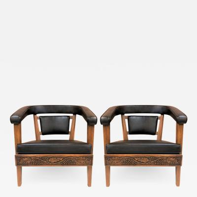 Romweber Pair of Romweber Carved Oak Lounge Chairs