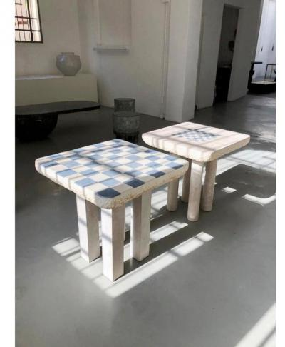Rooms CHESS TABLE FRENCH LIMESTONE HAND SCULPTED BY ROOMS